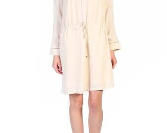 Beige Cotton Straight Dress.