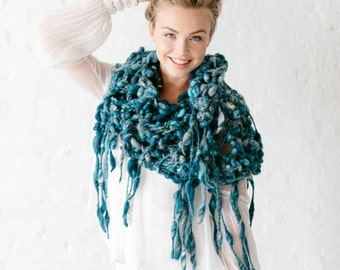 Runaway Shawl Knitting Pattern ~ Perfect for Super Bulky Yarns ~ Simple, Easy Knit Pattern ~ Open Stitch