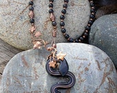 Black and Copper Lampwork Snake with copper and black agate