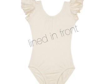 LINED - IVORY CREAM Toddler & Girls Flutter / Ruffle Short Sleeve Leotard - Flower Girl Favorite!