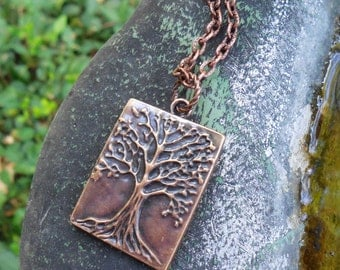 SALE! Family Tree Genealogy Antique Copper Rectangle Pendant Cool Dad Gift Idea Unisex His & Hers Mom Father Brother Sister Hubby Wife Kids