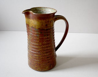 Vintage Tall Pottery Pitcher with Handle, Earthen Red-Brown Ceramic Coiled Jug, Hand Thrown Red Ceramic Vase, Utensil Holder, Marked Rouch