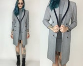 90's Checkered Navy Blue & White Long Blazer XS Small - Printed Trench Jacket Womens Long Plaid Blazer Jacket Business Casual Womens Blazer