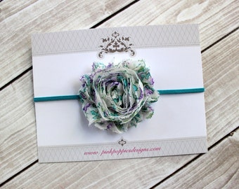 Floral headband - Purple and Teal Shabby Flower Headband - Teal Headband - Newborn Headband