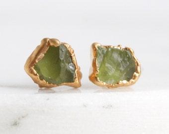 peridot studs / raw peridot earrings / green stone earrings / raw stone earrings / mineral earrings / peridot jewelry / stocking stuffer