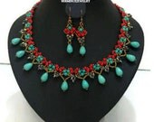 20% SALE - Turquoise statement necklace & Turquoise teardrop earrings, Jewelry Set , Turquoise and Coral Natural Stone - Everyday