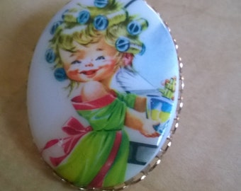 Brooch Happy Housewife Pin Vintage 1950s hairstyle