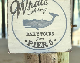 Beach Wall Art - Beach House Decor - Whale Watching Sign