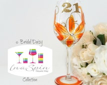 Orange and Gold 21st Wine Glass Personalised 21st Birthday Gift For Her Birthday Orange and Gold Party Favors Made to Order Bridal Daisy