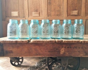 Antique Ball Jars, Original Blue Glass Ball Mason Jars, Quart Mason Jars, Ball Canning Jars