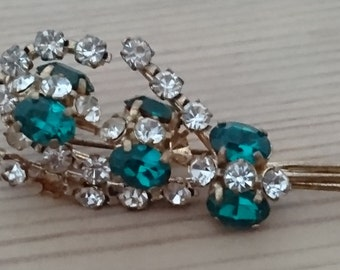 Vintage green and white rhinestone brooch