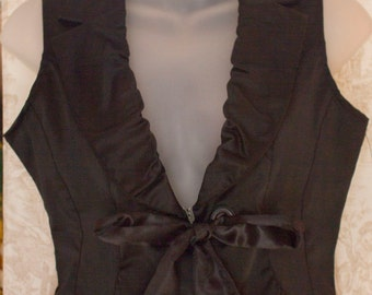 Women's Black Satin Ruffled Collar Vest by Ashley