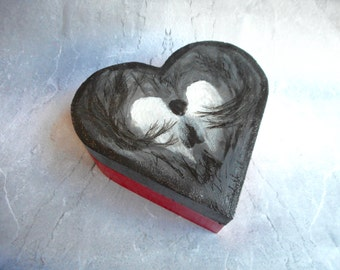 In red and gray hand-painted wooden jewelry box chest / heart-shaped / homemade artwork / unique gift / Angel in dark forest