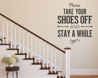 Remove Shoes Sign Wall Decal Mud Room Decal Entry Way No - Custom vinyl wall decals cheap   how to remove