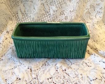 Free Shipping McCoy USA Rectangular Vintage Green Planter