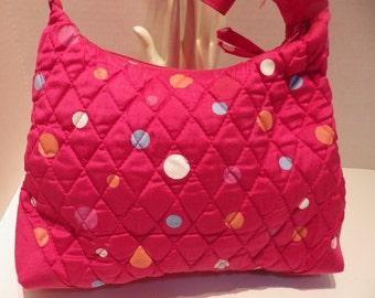 1990s Vintage VERA BRADLEY Silk Purse Handbag Caribbean Pink Polka Dots COURTNEY