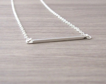 Skinny Bar Necklace, Horizontal Bar Necklace, Sideways Bar, Small Bar, Minimalist Necklace, Simple Necklace, Sterling Silver Chain