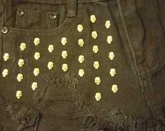 skull jean shorts