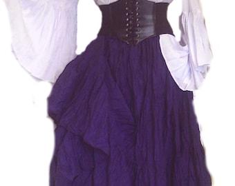 Renaissance Steampunk Dress Pirate Gypsy Outfit Waist Cincher Corset 3 pcs Wench Costume