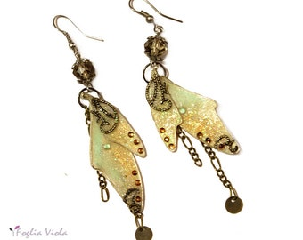 Steampunk Fairy Wings butterfly dragonfly Earrings jewelry gift for her enchanted fable magic woodland princess fairytale present ooak gift