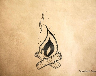 Campfire Rubber Stamp - 2.5 inches tall