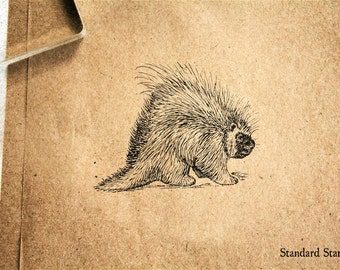 Porcupine Rubber Stamp - 2 x 2 inches