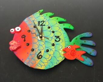 Kids Clock, Fish Clock ,Present ,Housewares,Nursery Clock ,Gift Clock