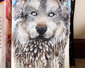 Watercolored Wolf