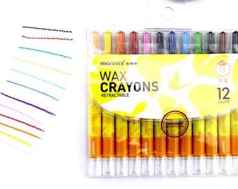 Kids 12 Color Monami Twistable Non-toxic Wax Crayons Children Oil Pastels