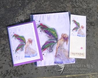 Fabric Faerie Notebook, Handmade Bookmark & Card Gift Set