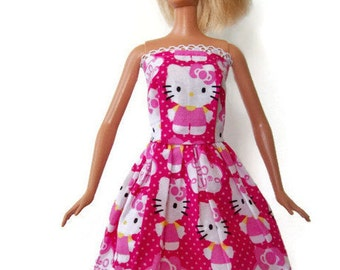 Handmade,  Barbie Clothes , Pink Kitty Dress, Cat Dress, Barbie Dress, Fashion Doll Clothes, Kitty Dress, Doll Dress, Barbie Clothing