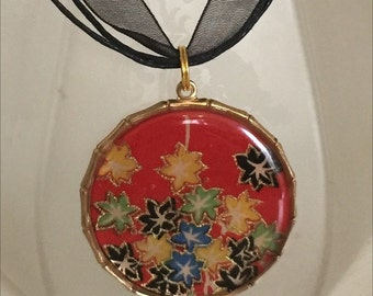 Red Floral Origami Paper Pendant