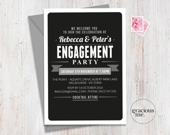 Engagement Party Invitation, Engagement Invitation, Printable, Custom, Made to Order