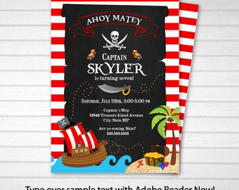 Pirate Invitation - Pirate Party Invitations - Pirate Birthday Party Invites - INSTANT DOWNLOAD - Edit NOW with Adobe Reader from home!