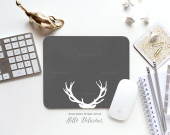 Mouse Pad Antlers Mousepad Gray Stag Mouse Mat Deer Antlers Mouse Pad Office Mousemat Rectangular Mousemat Forest Mousepad Round 14.