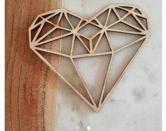 Heart Cake topper, geometric heart, wedding cake topper, engagement cake, laser cut topper, wooden cake topper, heart decorations
