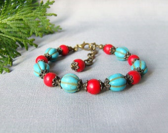Turquoise red howlite stones bracelet Exotic Beaded bracelet Bright jewelry Unique Mother's Day Gift women Girlfriend gift ideas for wife
