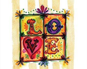 LOVE -- Watercolor Print with hand lettering