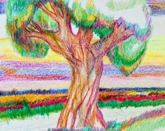 Original Crayon drawing, Magic Tree,  9'' x 12''
