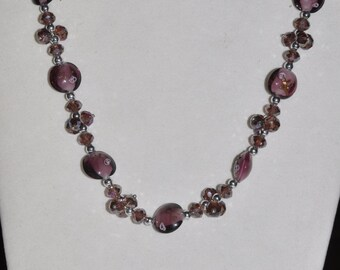 Necklace Purple Glass Crystal Murano #472