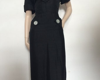 RARE NOS 50's Black Novelty Star Print Day Dress / Large / Cape Collar