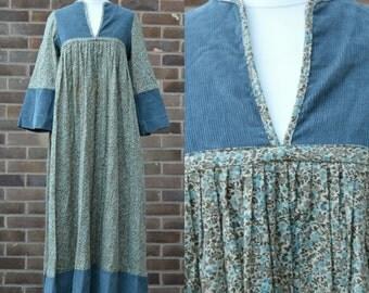 1970s Blue Green Cord Floral Hippie Boho Maxi Dress Small