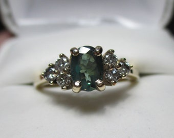Awesome C-C .70ct Natural Alexandrite & .21ct Diamond 14kt Ring-Gorgeous Green to Purple C-C-Layaway Welcome Here~
