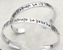 Mother Daughter Jewelry, Mother Daughter Bracelets, Set of Bracelets, Gift for Mom from Daughter, Hand Stamped Bracelets, Cuff Bracelets