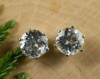 White/Colorless Topaz Sterling Silver Earrings