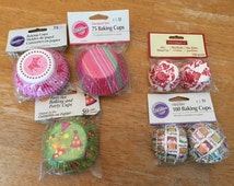 Lot of Cupcake  Liners, Birthday Cupcakes, Mini Cupcake Liners, Party Cupcake Baking Cups Lot