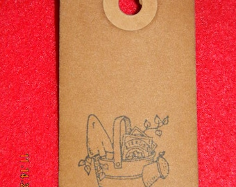 Set of 50 Small Primitive Spring Watering Can Handmade Hang Tags