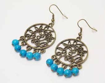 Adorable gift/for/coworker gifts Turquoise earrings Hoop earrings large earrings gypsy jewelry statement jewelry bohemian earrings/for/girl