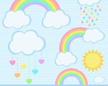 Pastel Rainbows Clipart Set - Rainbows, Clouds, Sun, Hearts, Rain - Perfect for Nursery! Pink, Orange, Yellow, Green, Blue & Purple