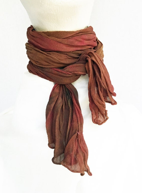"""Brown crinkle chiffon scarf - crinkle scarf - rust brown, brown, gold, orange - fall colors - crinkle chiffon - hand dyed - small - 10 x50"""""""